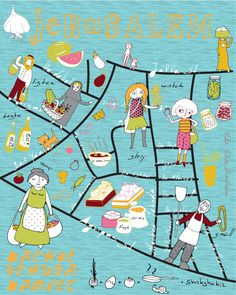 Ella Elron-Breitman illustration and surface design ben yehuda market map, jerusalem http://www.ellaelron.com/