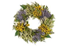 "One Kings Lane - Rustic Romance - 18"" Thistle & Eucalyptus Wreath"