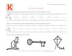 Traceable Alphabet Letter K Worksheet Alphabet Worksheets, Kindergarten Worksheets, Printing Practice, Learning Stations, Letter K, All Kids, Tot School, Preschool Learning, Good Company