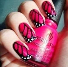 Bright Pink Black Butterfly Wings Spring Manicure For Square Nails Spring Nail Art, Summer Acrylic Nails, Spring Nails, Spring Art, Trendy Nail Art, Nail Art Diy, Acrylic Nail Designs, Nail Art Designs, Nails Design