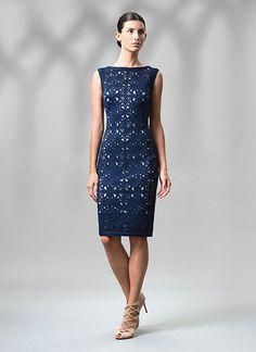 2199f75bcac Tadashi Shoji Laser Cut Neoprene Boatneck Dress