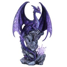 This fantastic statue features a purple dragon by artist Ruth Thompson! The beast has shining, detailed scales and a watchful gaze. It perches upon a rocky outcropping, and lavender crystals sparkle below. The figurine lights up thanks to an LED! Truly a unique addition to any fantasy lover's collection.