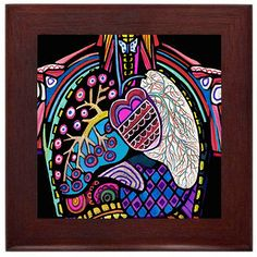 Anatomy Medical Science Human Head Folk Art Ceramic Framed Tile by Heather Galler - Ready To Hang Tile Frame Gift