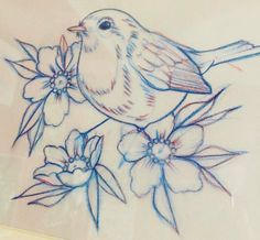 Pencil Drawings Of Flowers, Flower Art Drawing, Bird Drawings, Animal Drawings, Cute Drawings, Thread Painting, Fabric Painting, Bird Embroidery, Embroidery Patterns