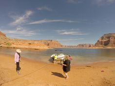 Beaching our powerboat to explore Lake Powell