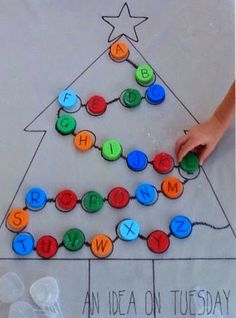 Christmas Learning Activities for preschool, alphabet tree, use a heart instead of a Christmas tree Preschool Kindergarten, Preschool Crafts, Kids Crafts, Kindergarten Christmas, Summer Crafts, Christmas Maths, Christmas Alphabet, Summer Fun, Noel Christmas