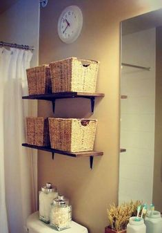 Modern Storage Ideas for Small Spaces, Staircase Design with Storage They have a lot of great ideas for understair storage on this page. Bathroom Storage Ideas For Small Spaces Small Bathroom Storage, Bathroom Shelves, Bathroom Ideas, Small Bathrooms, Simple Bathroom, Toilet Shelves, Small Kitchens, Downstairs Bathroom, Bathroom Interior