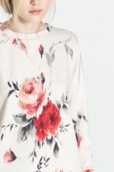 Leisure rose printed sweater