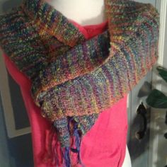 """Liz Christy scarf Measuring 60""""x 10"""", this scarf is super luxurious,  with shades of watermelon, magenta, purple, green and smidgen of yellow.  Fringe is 3.5"""" long. Hand woven in Ireland.  Cotton mix. Box 5 Liz Christy Accessories Scarves & Wraps"""