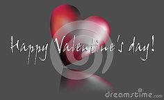 Red and pink heart with happy valentine's wishes on grey elegant background.
