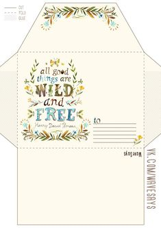printable envelope for wild and free party Envelope Template Printable, Free Printable Stationery, Printable Paper, Envelope Carta, Pocket Letter, Snail Mail Pen Pals, Pen Pal Letters, Envelope Lettering, Ideas