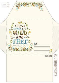 printable envelope for wild and free party Envelope Template Printable, Free Printable Stationery, Printable Paper, Envelope Carta, Diy Envelope, Pocket Letter, Snail Mail Pen Pals, Pen Pal Letters, Envelope Lettering