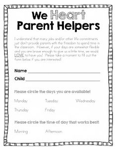EDITABLE FREEBIE - Back to School Parent Helper Form