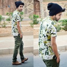 Hamid khouyi - vintage floral, h&m army, vintage wissart, si Casual Winter Outfits, Boho Outfits, Vintage Outfits, Tropical Outfit, Tropical Fashion, Hipster Beanie, Hipster Man, Vintage Floral, Vintage Men