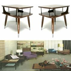 60s Mid Century Danish Modern Furniture Matching Small Square Simple End Side Tables on Etsy, $249.00