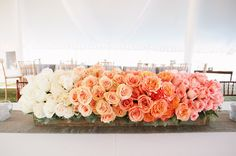 30 Totally Breath-taking Ways To Use Ombre Wedding Flowers - Deer . Table Centerpieces, Wedding Centerpieces, Wedding Table, Our Wedding, Dream Wedding, Wedding Decorations, Wedding Blog, Centrepieces, Aisle Decorations