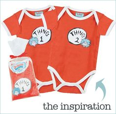 Thing 1 and Thing 2 Twins Onesie based off the characters in The Cat in the Hat by Dr. Suess