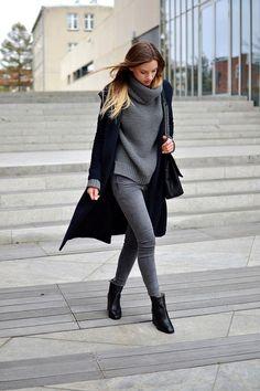 I love the sweater, coat, pants, hair, bag, boots.