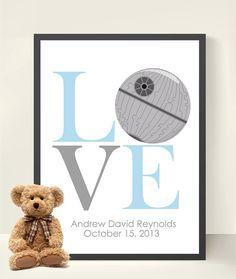 Newborn Baby Star Wars Kids Art- Boy Room Decor- Nursery Decor Star Wars Nursery- Baby Shower Gift - Boy Wall Art- LOVE