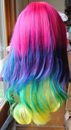 gorgeous rainbow hair