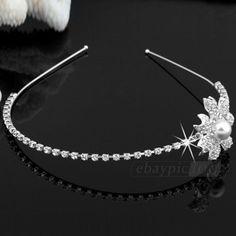 "Silver Plated Rhinestone Crystal Flower Pearl Hair Alice Band Headband 1.5"" HOT"