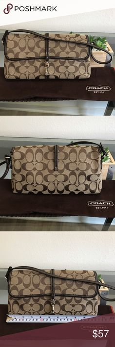 COACH Signature Evening Bag/Clutch Simple, classic, chic. COACH east/west signature jacquard fabric handbag. Can be dressed up for weddings or evenings out. I loved tucking the straps into the interior to be used as a clutch. Nickel hardware with dark brown leather accents. Looks killer with dark brown heels to match! Can fit a cellphone, small wallet or card case and some extra makeup. Gently used - excellent condition. Coach Bags Shoulder Bags