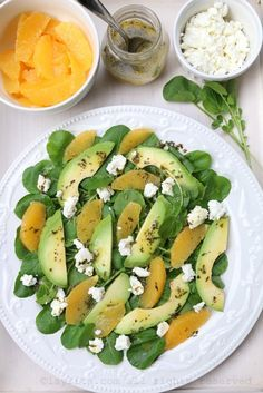 Refreshing watercress salad with avocado, orange and goat cheese with an orange tarragon vinaigrette. Watercress Salad, Avocado Salad, Caprese Salad, Healthy Salads, Healthy Recipes, Deli Food, Orange Salad, Salad Recipes, Veggies