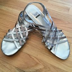 Strappy silver dress shoes Silver dress shoes, worn once Impo Shoes Wedges