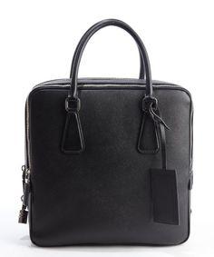 Prada black leather double zipper briefcase