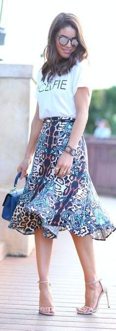 Blue Multi Cobra Skin Midi Skirt by Camila Coelho