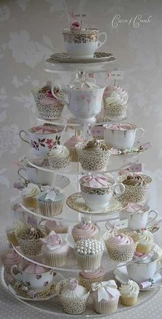 Cute cupcake set-up for weddings/parties. Use vintage tea-cups mixed in with the cupcakes. Cotton And Crumbs, Tea Party Bridal Shower, Cupcakes For Bridal Shower, Bridal Showers, My Tea, Cupcake Cakes, Teacup Cupcakes, Cupcake Tree, Teacup Cake