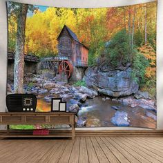 Waterproof Wooden House and Forest Pattern Wall Hanging Tapestry - COLORMIX W79 INCH * L71 INCH