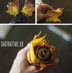 Как сделать осеннюю розочку из листьев?