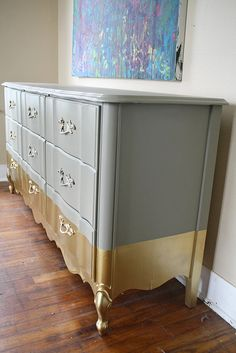 *****THIS ITEM IS SOLD*****  *****Contact me to recreate this look on another vintage piece!*****  This dresser was featured in a Style Spotters section of Better Homes and Gardens! Take a look... http://www.bhg.com/blogs/better-homes-and-gardens-style-blog/2012/12/20/new-years-nursery-mod-princess/   Vintage French Provincial 9 Drawer Dresser, hand painted with a luxurious gold dip effect. This piece is solid wood and is extremely sturdy. It would...