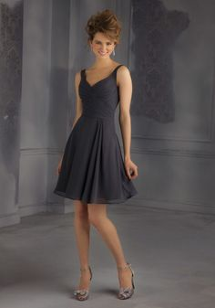 Chiffon Bridesmaid Dress with Open Back Designed by Madeline Gardner. Zipper Back. Shown in Charcoal.