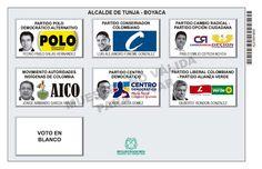Tarjetón de elección para Alcalde de Tunja