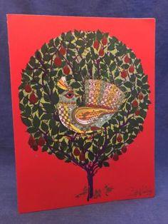 #art RARE 1965 Bjorn Wiinblad 7x9 Mid Century Modern Red Greeting Card Partridge please retweet