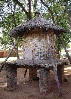 A traditional grain storage structure in Malawi, known as a nkhokwe