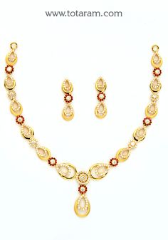 22K Gold Necklace & Earrings Set With Cz