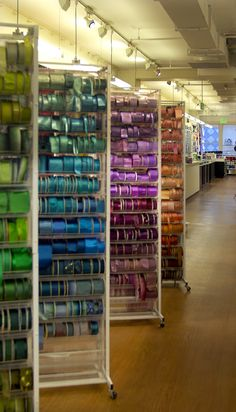Rainbows of ribbons at my fave fabric store in SF