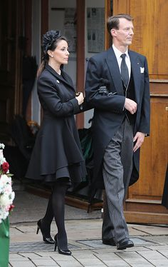 Princess Marie and her husband Prince Joachim of Denmark leave the funeral service for the deceased Prince Richard of Sayn-Wittgenstein-Berleburg (1934 - 2017) at the Evangelische Stadtkirche on March 21, 2017 in Bad Berleburg, Germany.