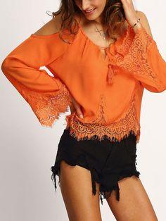 blouse épaule dénudée -orange -French SheIn(Sheinside)