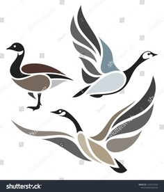 Find Stylized Birds Wild Geese stock images in HD and millions of other royalty-free stock photos, illustrations and vectors in the Shutterstock collection. Bird Drawings, Animal Drawings, Drawing Sketches, Bird Stencil, Damask Stencil, Stencil Patterns, Goose Tattoo, Goose Drawing, Fabric Painting