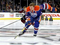 Connor McDavid of the Edmonton Oilers competes in the fastest skater event during the all-star skills competition held Saturday night as part of the 2017 NHL All-Star Weekend at Staples Center in Los Angeles on Saturday night.