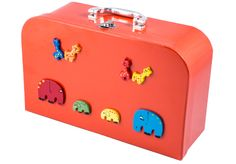 Red suitcase with animal decoration - 9432 African Crafts, Animal Decor, Toy Chest, Suitcase, Goodies, Decoration, Red, Accessories, Home Decor