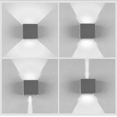 K Bright 12W Gris Fonc Cube Appliques Murales LED Haut Et Bas Faisceau Lumineux
