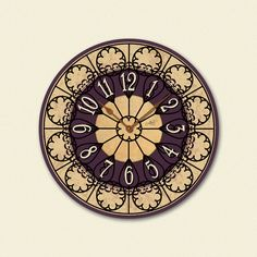 FRENCH ROSETTE handcrafted wall clock. With simple textures and detailed floral pattern, this clock knows how to change a room from a boring space into an area that is ready to impress!