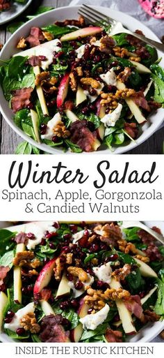 A winter salad recipe made with Gorgonzola, apple, bacon, spinach and candied walnuts. It's so simple and utterly delicious, perfect for lunch or dinner. spinachsalad saladrecipes winterrecipes wintersalads gorgonzola cheese via 54184001752898374 Winter Salad Recipes, Salad Recipes For Dinner, Healthy Salad Recipes, Vegetarian Recipes, Cooking Recipes, Salads For Lunch, Simple Salad Recipes, Healthy Winter Recipes, Dinner Salads