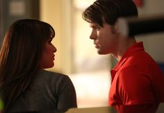"""GLEE: Sam (Chord Overstreet, R) and Rachel (Lea Michele, L) chat in the """"The Hurt Locker, Part Two"""" episode of GLEE airing Friday, Jan. 30 (9:00-10:00 PM ET/PT) on FOX -"""
