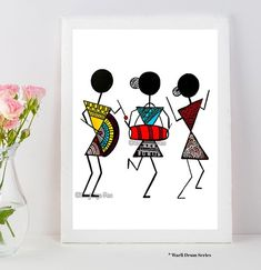 Warli Art Warli prints indian folk art prints home dec or Worli Painting, Fabric Painting, Painting Quotes, Music Painting, Madhubani Art, Madhubani Painting, Reproductions Murales, African Art Paintings, Art Tribal